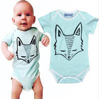 New Brands Baby Jumpsuits infant overall cute cartoon fox printed toddler girl romper kids clothes boys children clothing A184