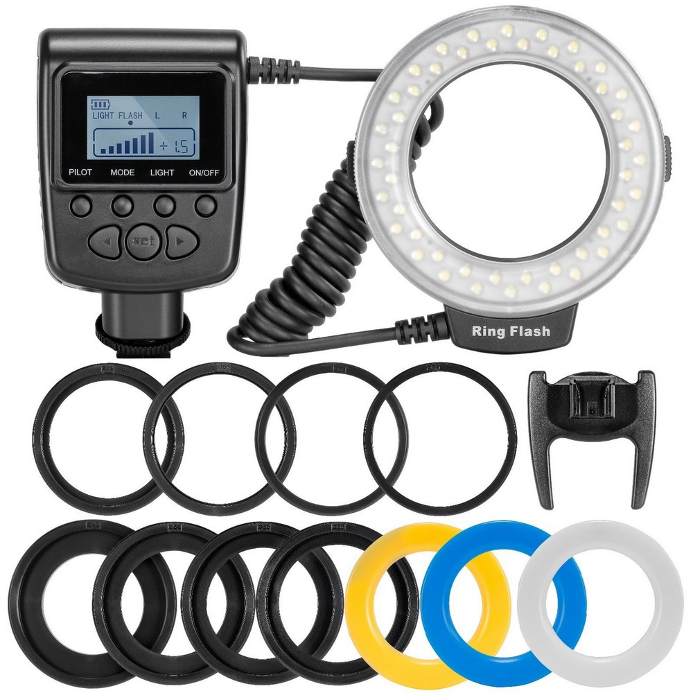 Travor RF-550D LED Macro Ring Flash light met 8 adapter ring Voor Nikon Canon Pentax Olympus Panasonic Camera als FC100 ring flash