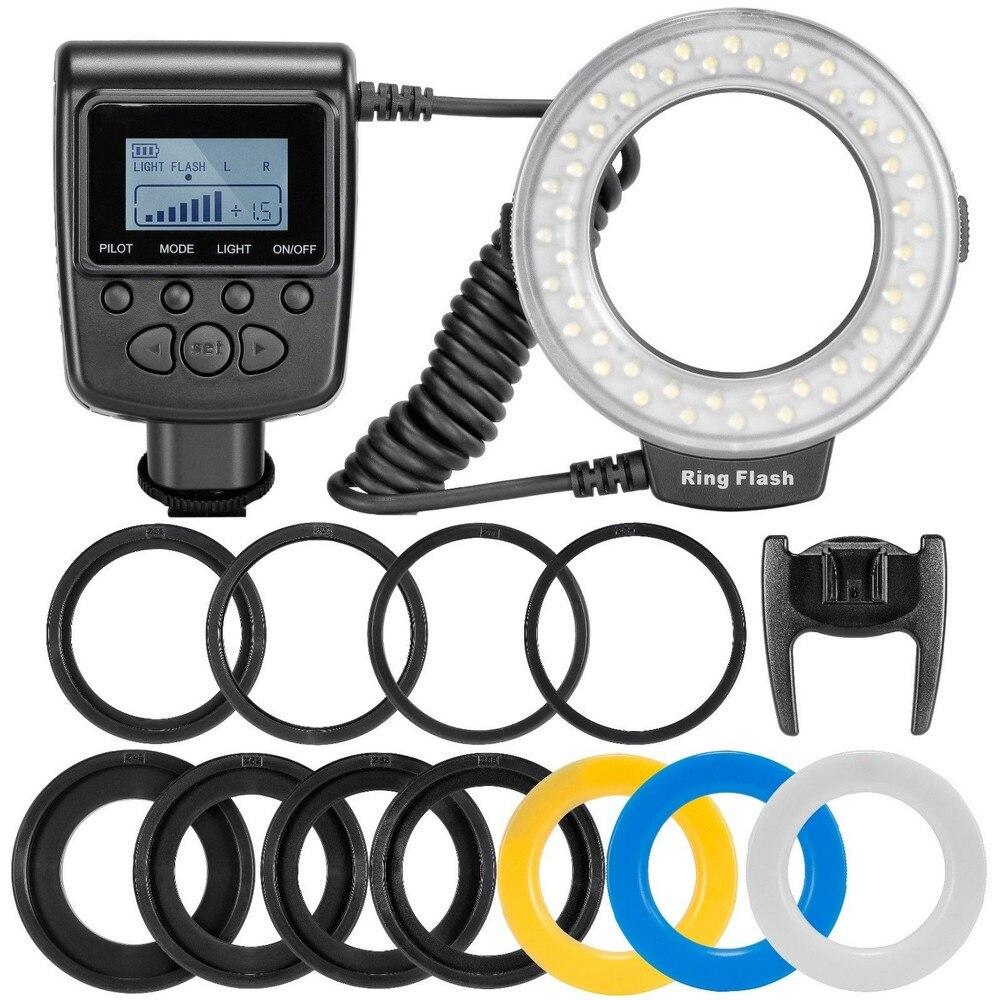 Travor RF-550D LED Macro anillo luz de Flash con 8 adaptador anillo para Canon Nikon Pentax Olympus Panasonic Cámara FC100 flash de anillo