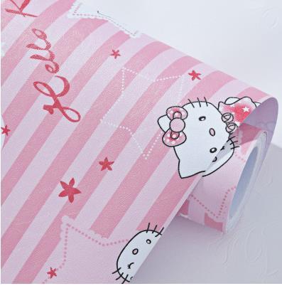 Merah Muda Hellokitty Kucing Stripe Perekat Tahan Air Wallpaper