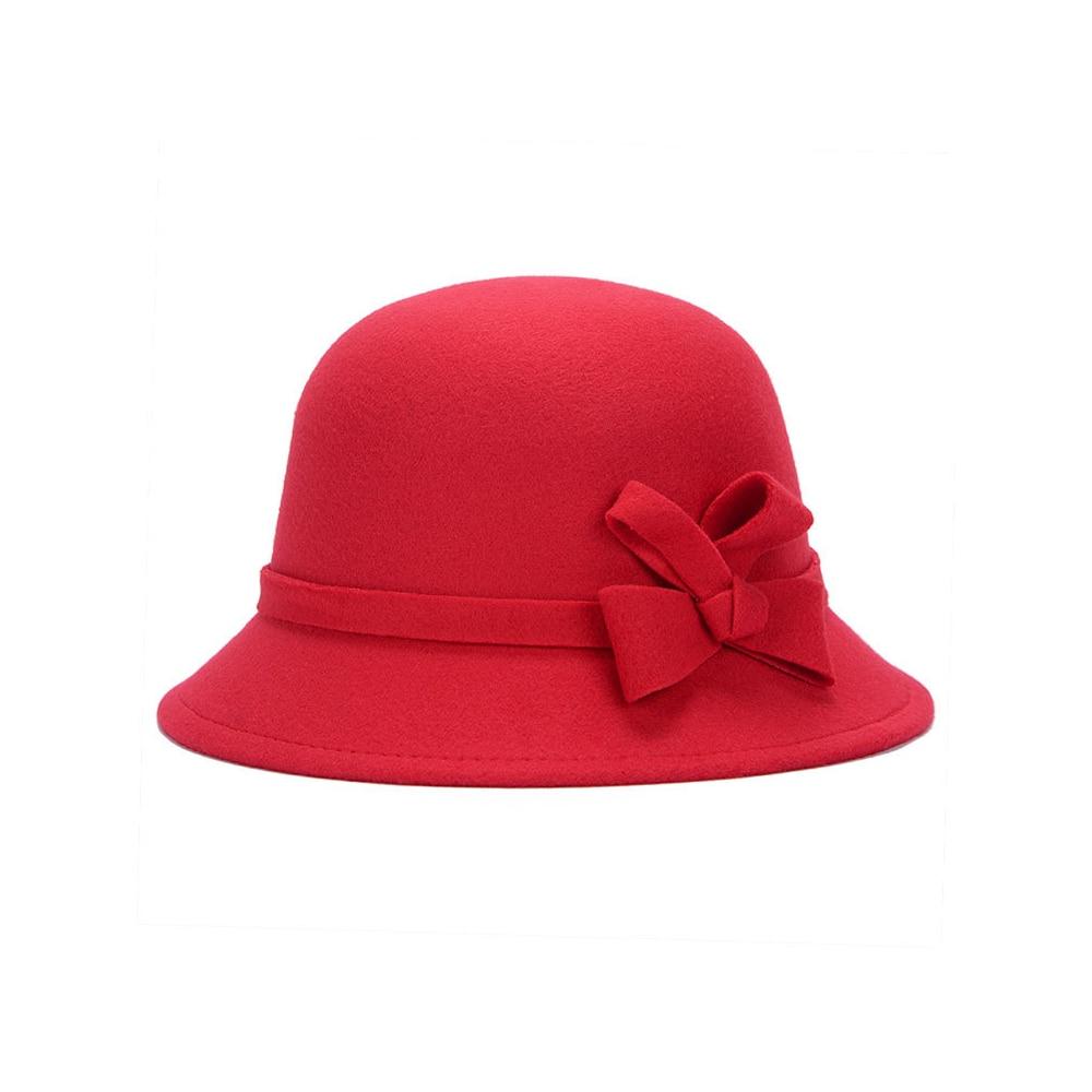 Широкополая шляпа винтажные шляпы дамская шляпа с бантом Повседневная шерстяная зимняя фетровая шляпа Регулируемая пляжная дорожная - Цвет: red1