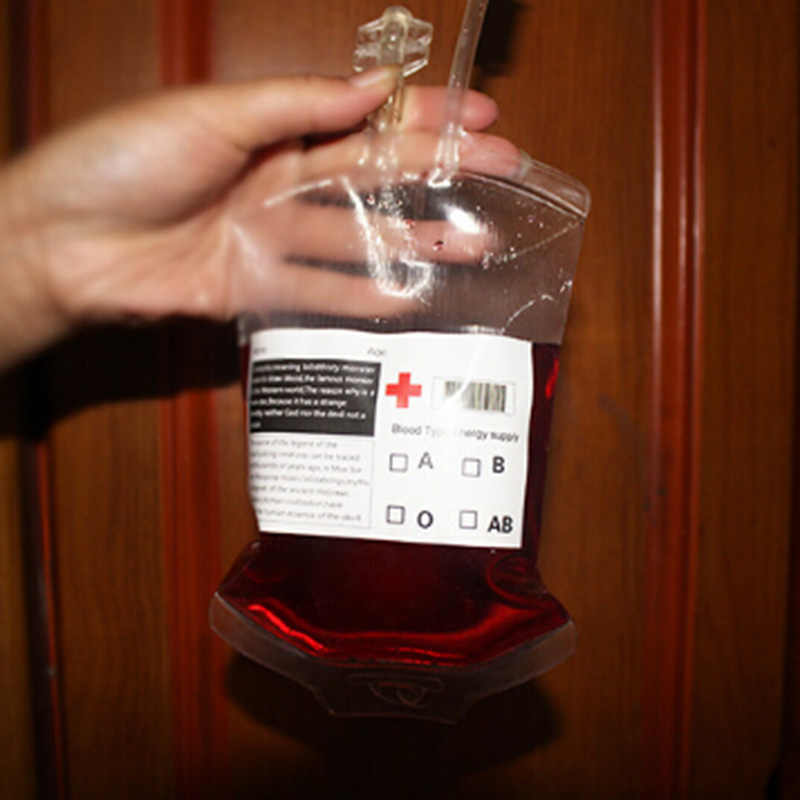 1 bolsa creativa de sangre de vampiro, zumo de fruta, bebida, decoración de bebida, accesorios de fiesta de Halloween, accesorios de Mascarada