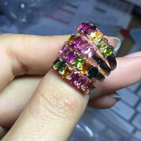 Natural Tourmaline Multi color Stone Ring Women Pure Solid 925 Sterling Silver Band Elegant Sweet Lady Jewelry Free Box Gift