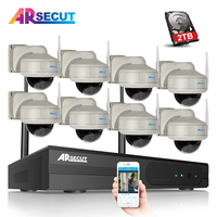 ARSECUT Plug And Play 8CH NVR Wireless CCTV Kit 960P HD Vandalproof 30IR Dome Home Security