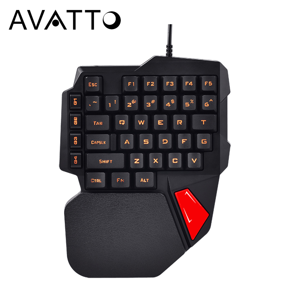 AVATTO 38-Key Professionelle One/Einzigen Hand USB Wired Backlit Gaming Tastaturen Esport Gamer Tastatur für PUBG LOL CS gehen overwatch