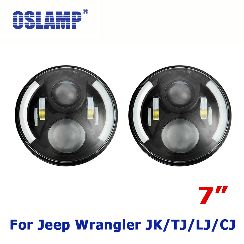 Oslamp 60W 7 CREE Chips Round H4/H13 LED Head Light Off-Road Driving Lights Combo 12v 24v Led Truck SUV Car Headlight for JEEP