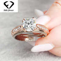 0548a498f1d5 14K Rose Blue Gold Sapphire Diamond Ring Female Topaz Bague Or Jaune Jewelry  Anillos De Bizuteria