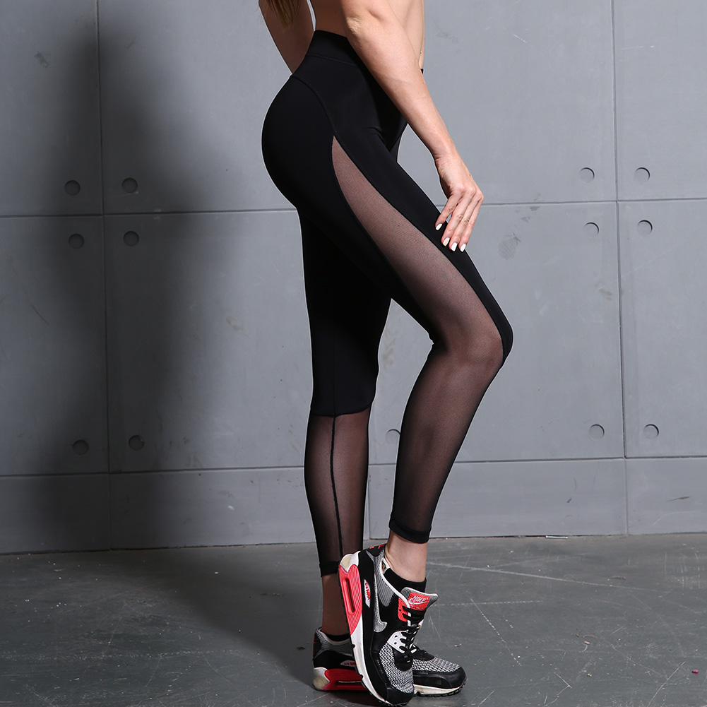 B.BANG Women Yoga Pants Mesh Patchwork Pencil Pants Elasticity Slim Jeggings Ladies Leggins Pantalon Stretch Femme 4
