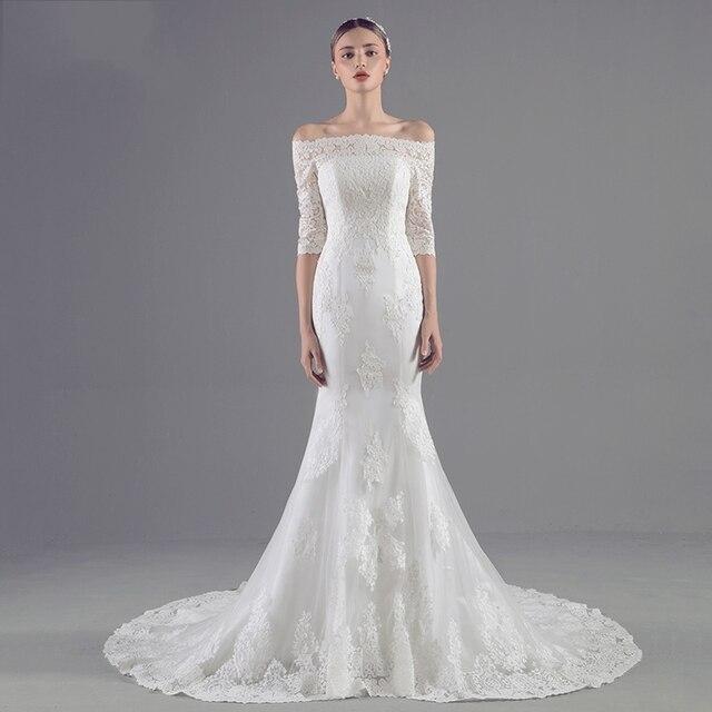 Simple Mermaid Lace Wedding Dresses 2017 Corset Fish Tail Wedding ...