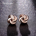 NEWBARK Cute Twist Love-knot Stud Earrings Rose Gold Plated Earings Fashion Jewelry Women Korean Style Design