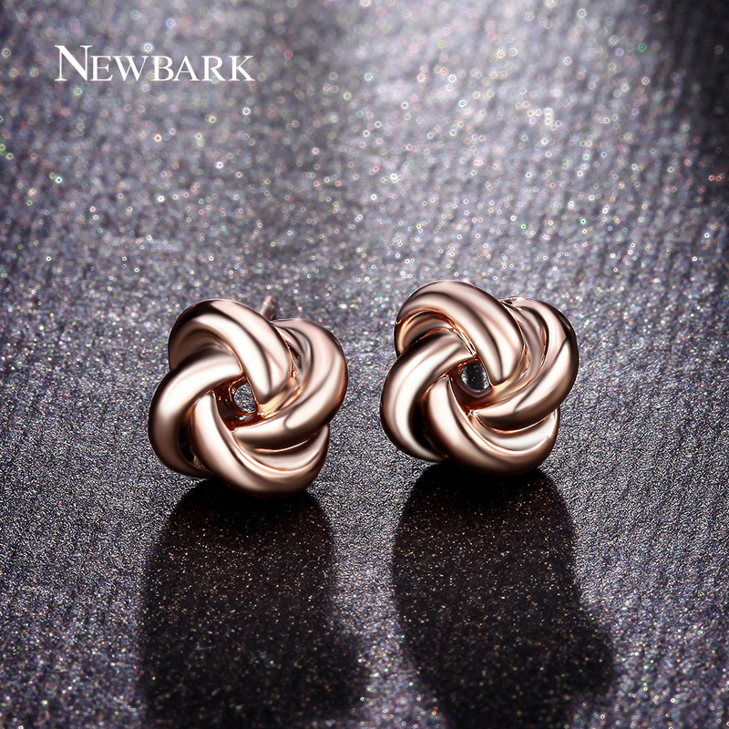 newbark-hot-sale-cute-korean-stud-earrings-twist-love-knot-rose-gold-silver-color-women-earings-fash