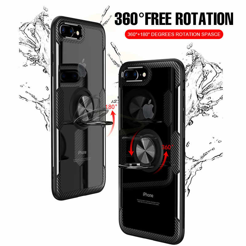 Luksusowe, odporne na wstrząsy miękkie etui na uchwyt na iphone X XR XS Max pełna pokrywa dla iphone 6 6s 7 8 PLus pierścień magnetyczny obudowa