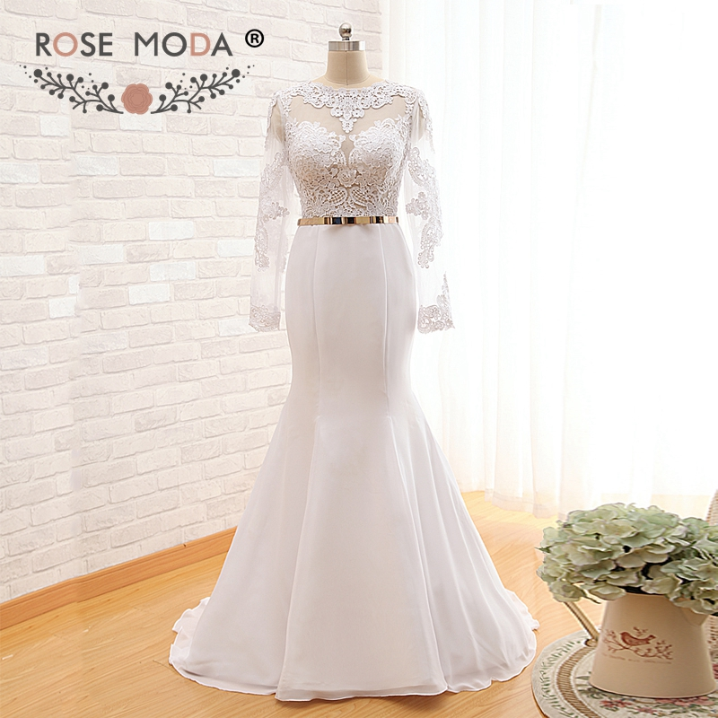 Rose Moda Mermaid Wedding Dress Boho Cut Out Back Long Sleeves Wedding Dresses Gold Belt Real Photos
