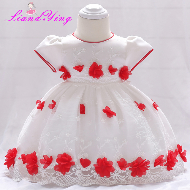 9f33cfbd53dc9 Newborn Baby Dress Kids Party Wear Princess Costume For Girl Tutu Baby  Infant 1 2 Year Birthday Dresses Girl Summer Red Clothes-in Dresses from  Mother ...