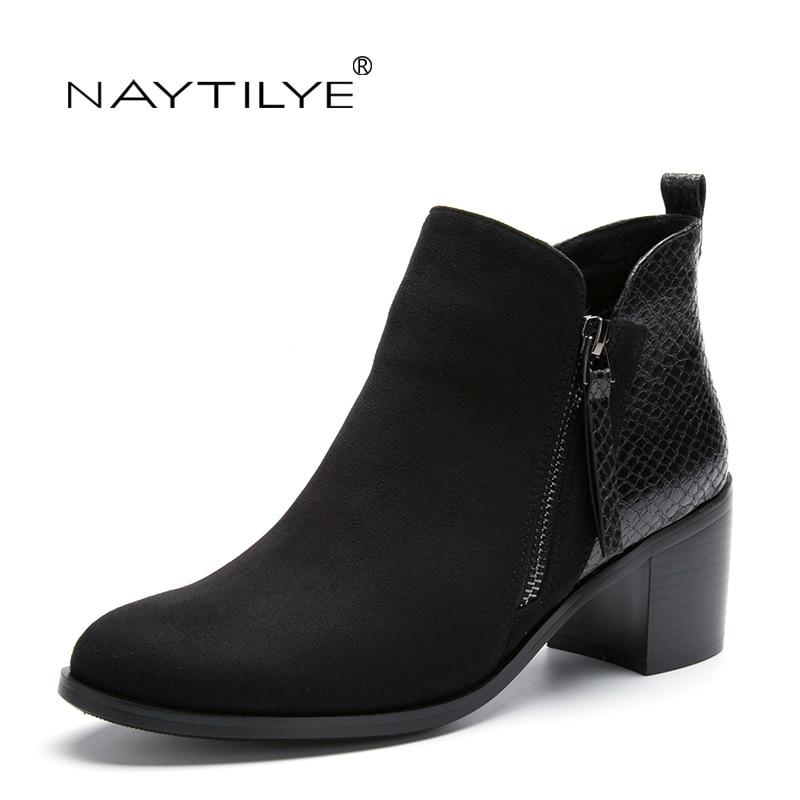 Bokacsizma Pu ECO bőr cipő nő Kerek Toe Közepes sarkú tavaszi őszi fekete Ingyenes szállítás NAYTILYE