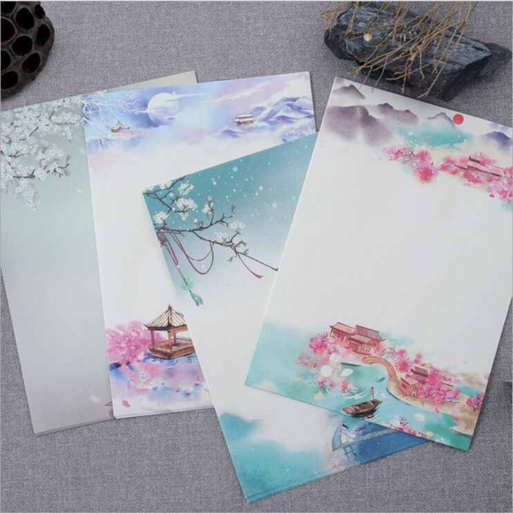 8 Pages/Pack Vintage Poetry Illustration Season Plants Flowers Painting Letter Paper Writing Paper Love Letter Stationery