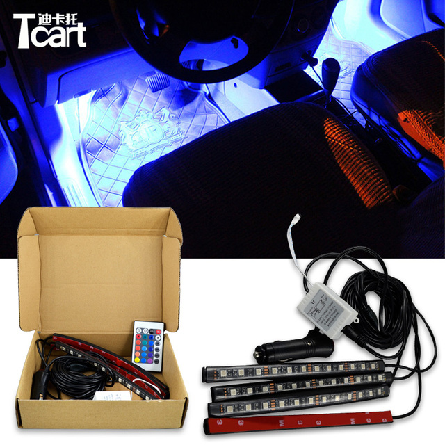 Tcart automobiles Decorative Atmosphere Lights Android iOS Phone APP Control RGB LED Strip lamp Car-styling Interior Light