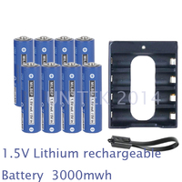 NEW 8PCS 1 5V AA Lithium Polymer Rechargeable Battery 3000mwh 4 Slots USB Charger 2A Li