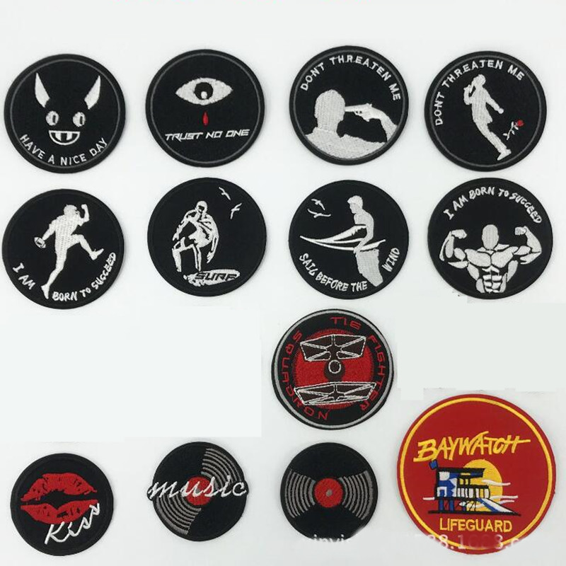 Black White Grey Sport Badge Patch Embroidered Patches For Clothing Iron On For Close Shoes Bags Badges Embroidery DIY in Patches from Home Garden