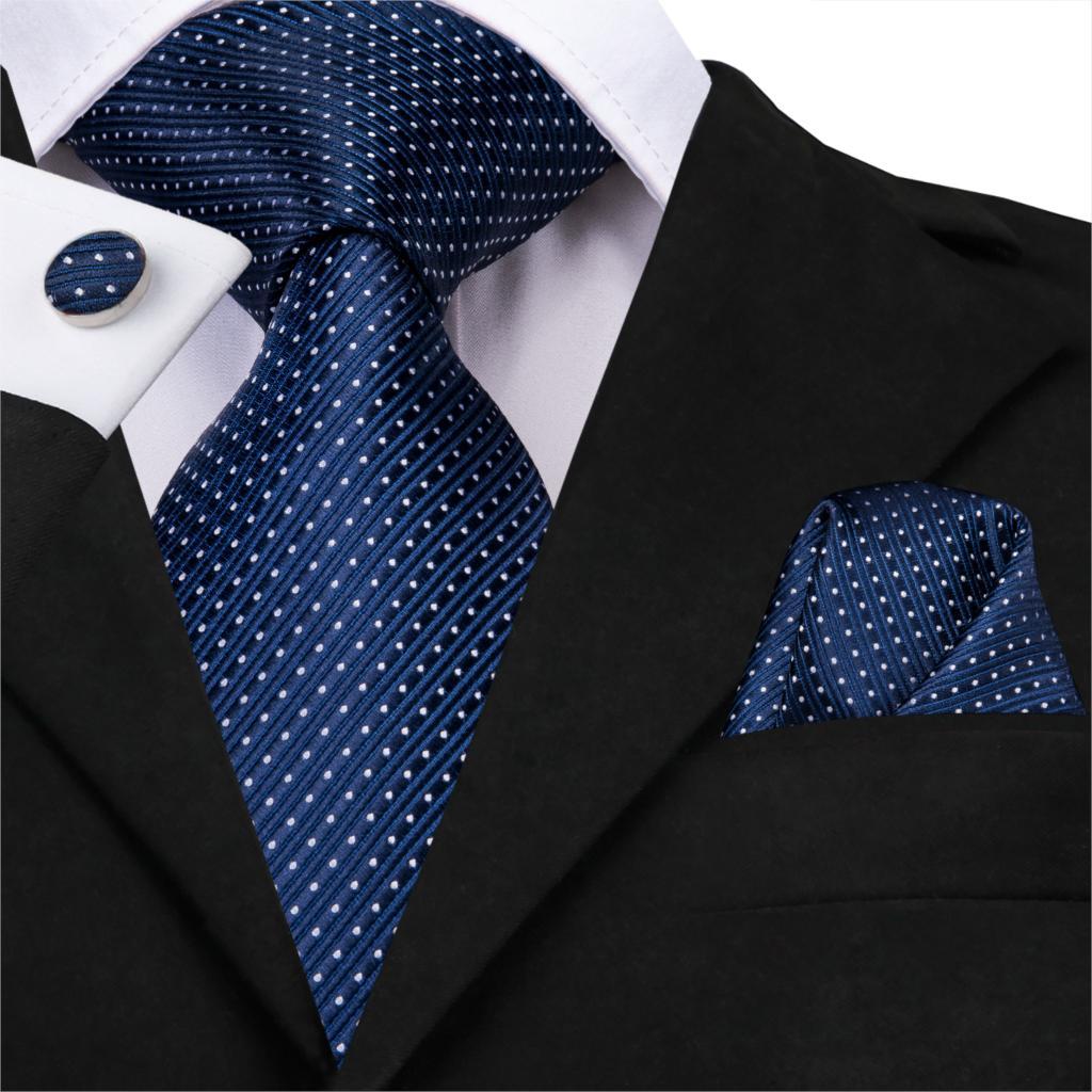 Necktie Handkerchief Set Classic Solid Gift For Men Woven Wedding Party Silk Men Tie Pocket Square Navy Blue Tie For Men SN-3226