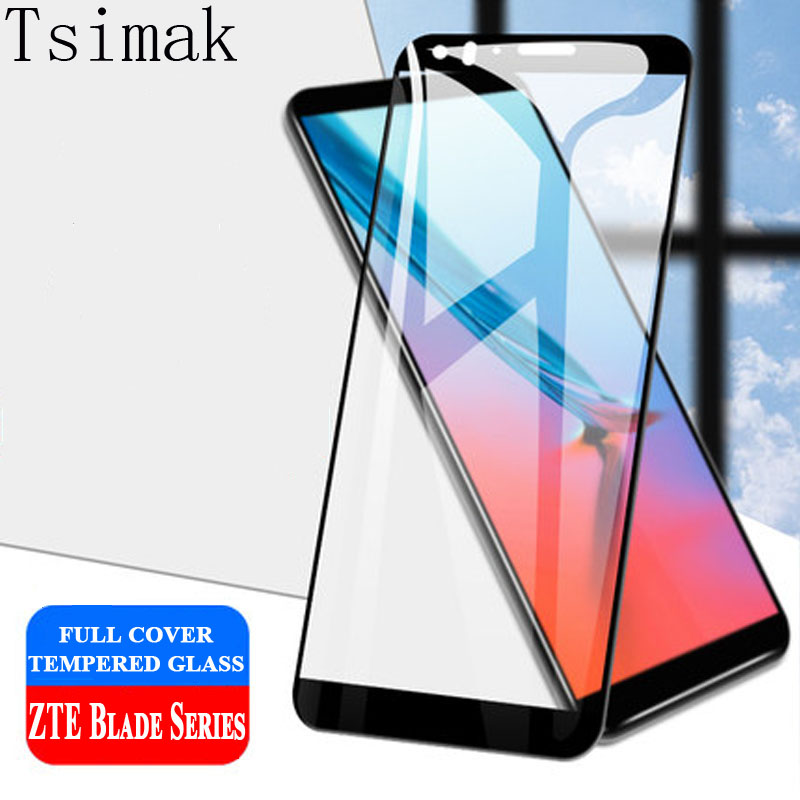Tsimak Full Cover Tempered Glass For ZTE Blade V9 Vita V8 A2 A2S Plus Screen Protector Toughened Protective Coverage Film