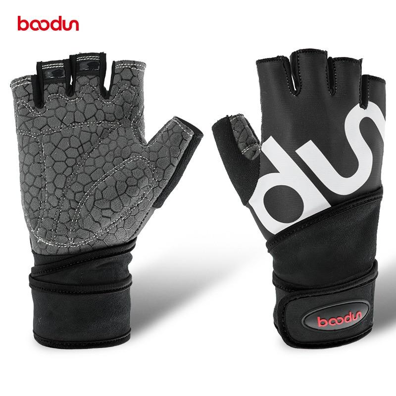 1637729a4501 Boodun hombres mujeres medio dedo Crossfit guantes de gimnasio Fitness  guantes de levantamiento de ...