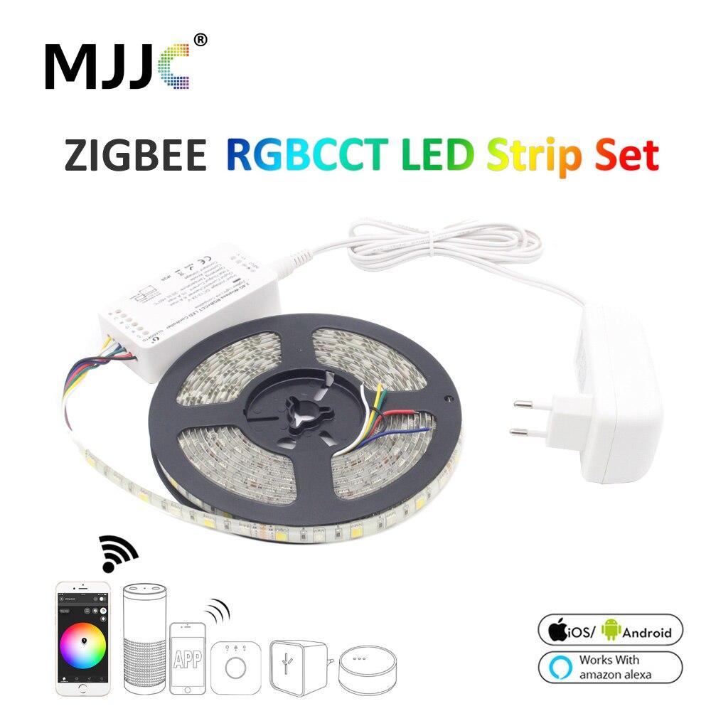 O controlador impermeável esperto da ligação zll da fita da listra do diodo emissor de luz de tira de zigbee rgbcct 5050 12 v 5 m conduziu o trabalho com alexa eco