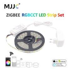Zigbee rgbcct tira de luz led, inteligente, à prova d água, smd 5050 12v 5m, fita de led, zll link controlador trabalho com alexa echo