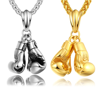 BRZHA Brand Men Necklace Pendant Gold Plated Stainless Steel Chain Pair Boxing Glove Charm Fashion