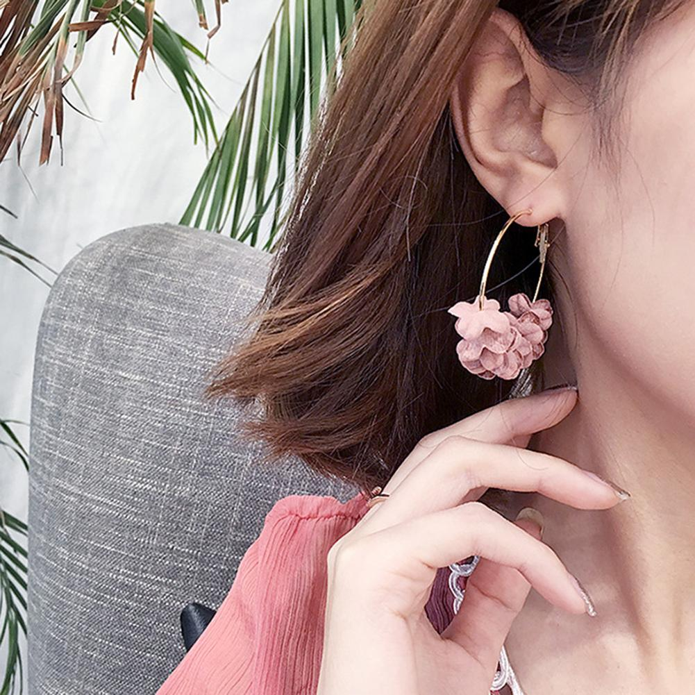 Simple Flower Shiny Big Round Drop Earrings for Women Statement Fashion Jewelry  Pendientes Fashion Earrings Accessories