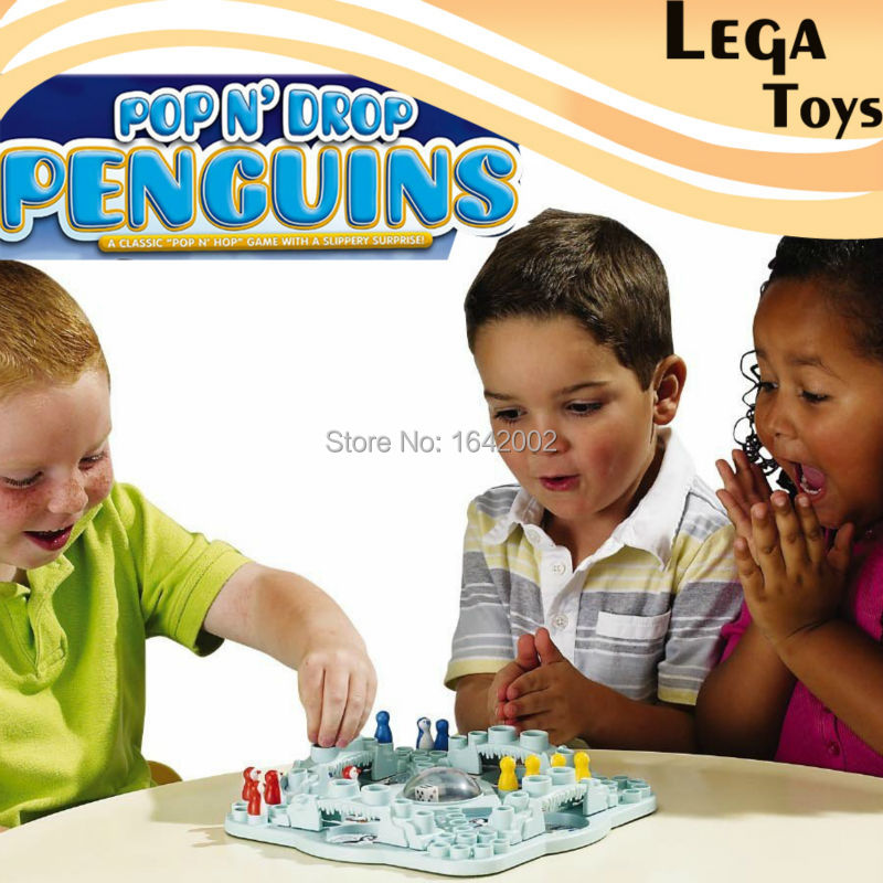 Game Zone pop n drop Penguins - Classic Pop N Hop 3-D Board Game With a Slippery S Board Game funny novelty toy, 2-4 Players