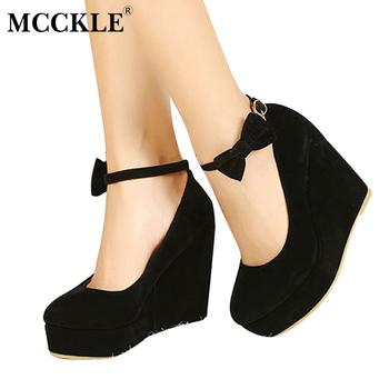 High Quality MCCKLE Women High Heels Elegant Wedges Wedding Dress Pumps  Female Flock Platform Buckle Ankle Strap Bowtie Shoes Plus Size 8882912a0556