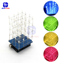 DIY Kit 74HC595 3D LED Electronic Light 4x4x4 LED Blue/Green/Red/Yellow 64 Cuboi