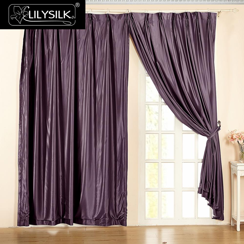 lilysilk silk drapes curtain panels fashion 22 momme classical windows drape rod pocket header free shipping - Silk Drapes