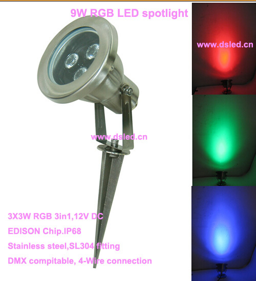 Free shipping by DHL !! IP68,high power,good quality 9W RGB underwater LED light,LED pool light,12V DC, DS-10-47-9W-RGB free shipping by dhl ip68 stainless steel high power 9w led swimming pool light underwater led light ds 10 1 9w 3x3w 12v dc