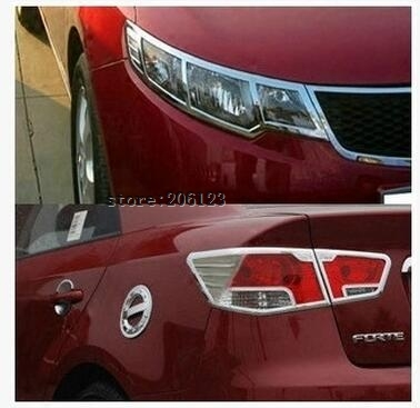 2009-2012 for KIA Cerato/Forte ABS Chrome Front headlight Lamp Cover Rear Tail Light Lamp Cover Trims fog lamp abs chrome rear headlight lamp cover for 2011 2013 jeep compass