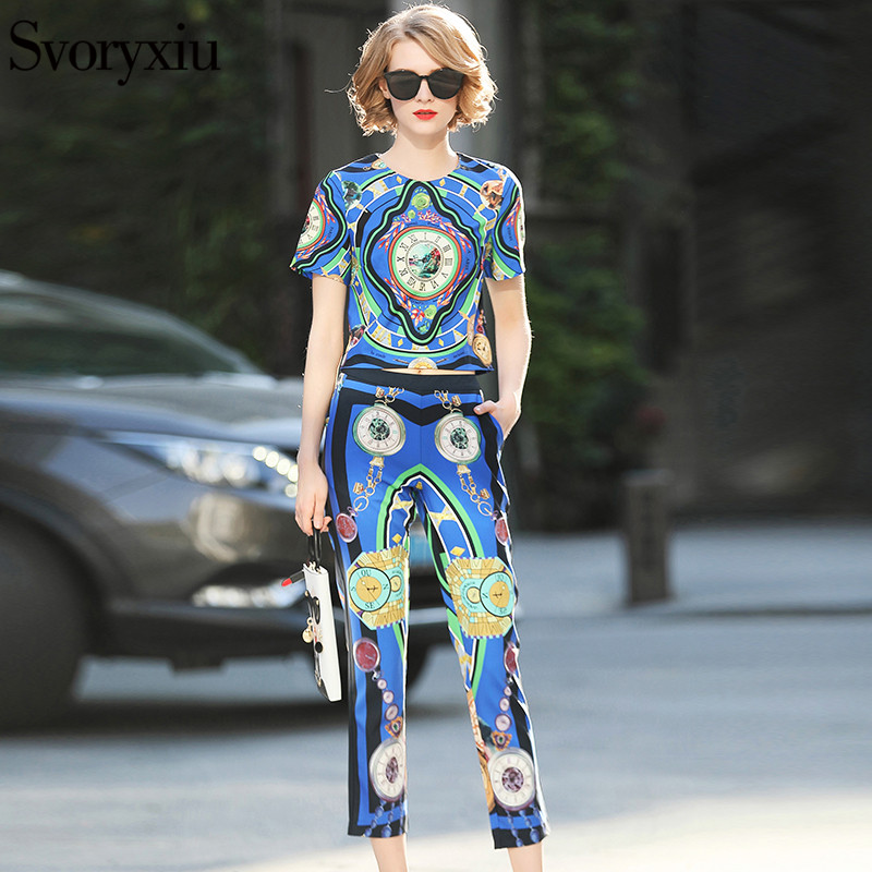 Svoryxiu Fashion Designer Two Piece Set Womens Short Sleeve Blue Print Blouse + Ankle Length Pants Casual Pants Set 2018 Summer