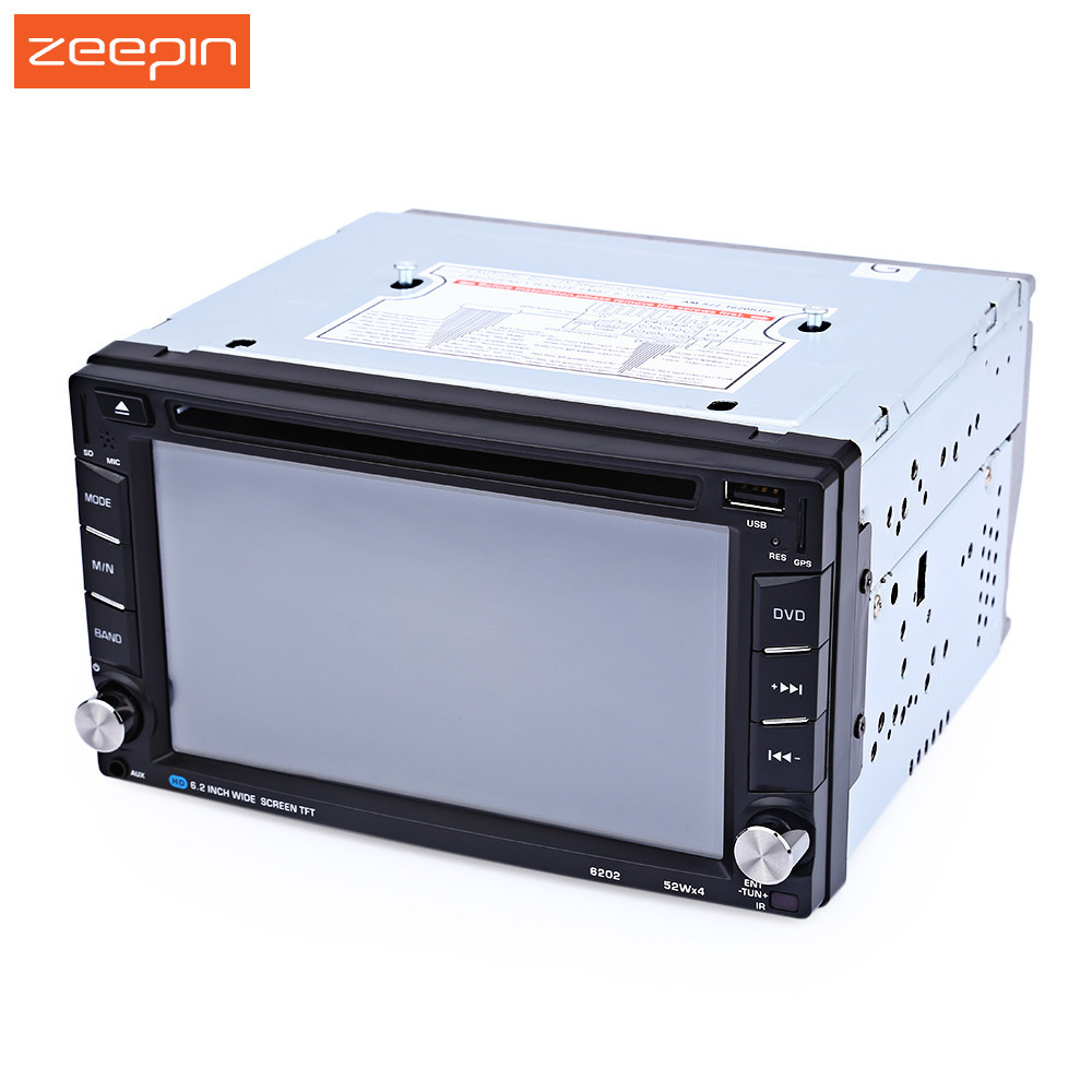цена на Zeepin 6.2'' Double 2 Din Car DVD Video Player GPS Navigation with Bluetooth V3.0 Auto Radio In-dash Map Mic Hands-free Call
