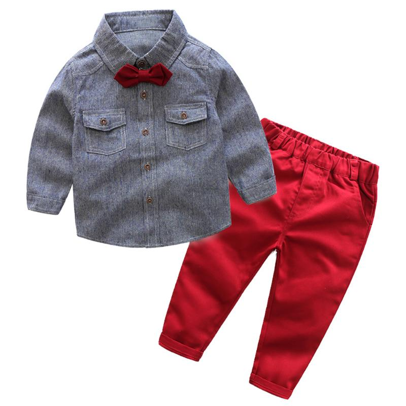 3pcs/Set Spring Kids Boys Gentleman Cotton Clothes Turn-down Collar Shirt + Pants + Bow Tie Fashion Cotton Comfortable Clothes