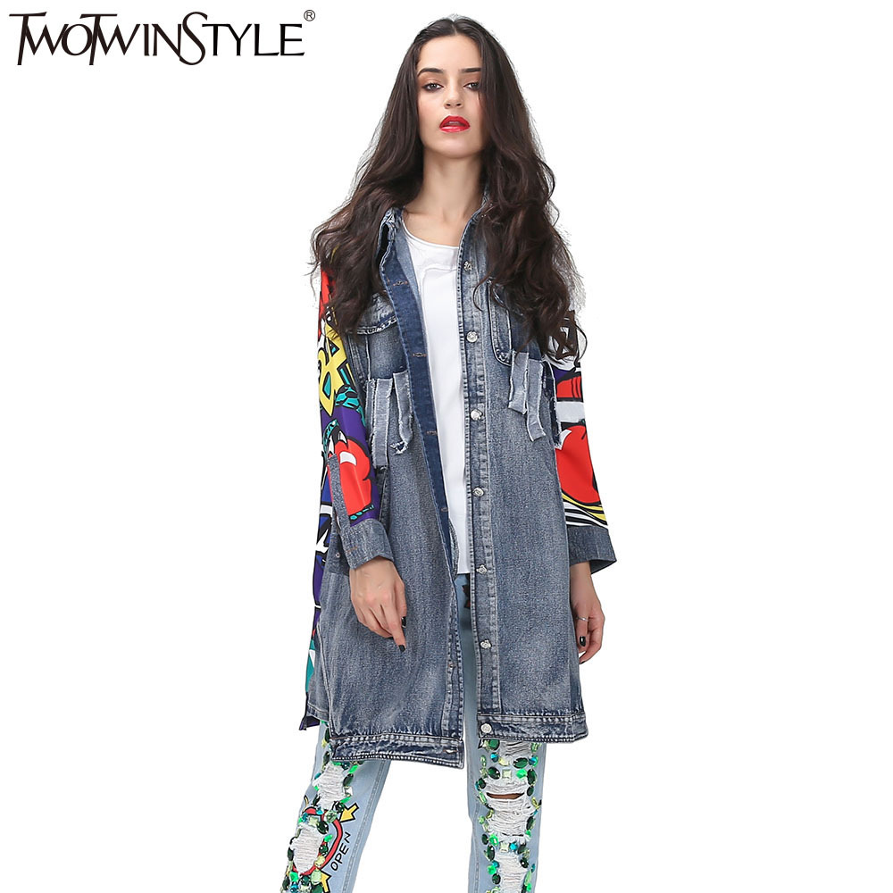 TWOTWINSTYLE 2018 Autumn Printed Denim   Trench   Coats Female Ripped Pockets Long Sleeves Windbreaker Women harajuku New Clothing