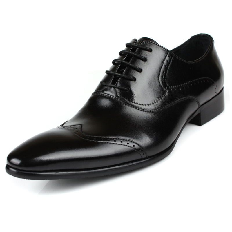 fd3adbf5d 2015 new mens dress italian shoes genuine leather round toe black wingtip  designer classic casual business flats size 6-10 ox360