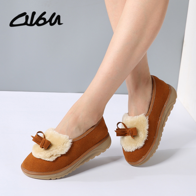 O16U Women Winter Snow Flats Shoes Fur Sue Leather Slip on Ladies cute Shoes Platform Knot Round Toe Female Fur Loafers Winter uexia winter cow suede tassels loafers fur inside warm gommini women shoes soft flats female shoes womens footwear round toe