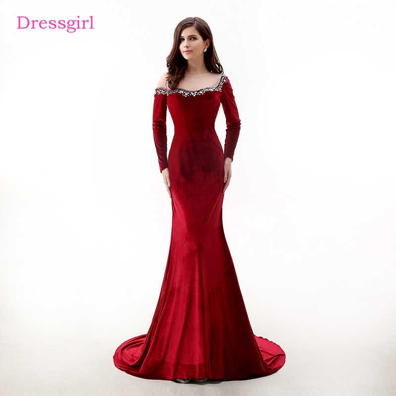 bb59eed3509 Красные вечерние платья 2019 Русалка с длинными рукавами прозрачные  бархатные кристаллы женское длинное вечернее платье выпускное