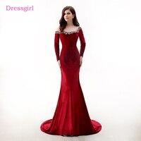 Red Evening Dresses 2018 Mermaid Dài Sleeves Xem Through Velvet Crystals Phụ Nữ Dài Evening Gown Prom Dress Robe De Soiree