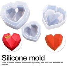 цена на 3D Diamond Love Heart Shape Silicone Molds Bake ware For Sponge Cakes Chiffon Mousse Pastry Dessert handcraft  Molds Food Grade