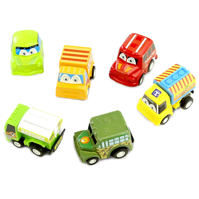 6Pcs Pull Back Car Toys Car Children Racing Car Baby Mini Cars Cartoon Pull Back Bus Truck Kids Toys For Children Boy Gifts