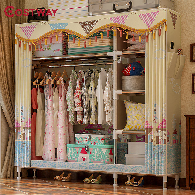 COSTWAY Cloth Wardrobe For Clothes Fabric Folding Portable Closet Storage Cabinet Bedroom Home Furniture Armario Ropero Muebles