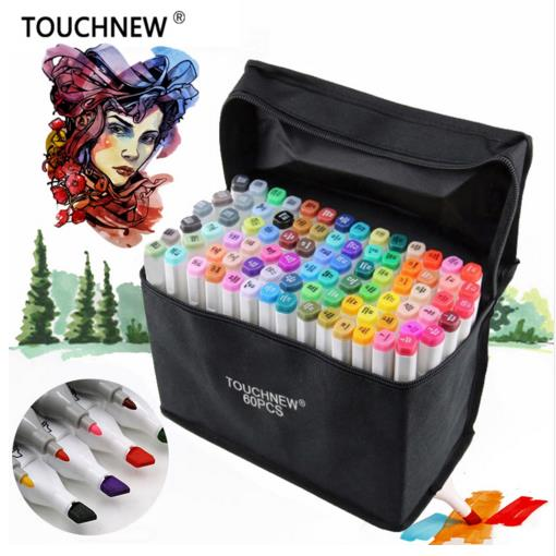 TOUCHNEW Art Markers 30/40/60/80Colors Artist Dual Headed Marker Set Manga Design School Drawing Sketch Markers Pen Art Supplies touchnew 30 40 60 80 168 colors artist dual headed marker set manga design school drawing sketch markers pen art supplies