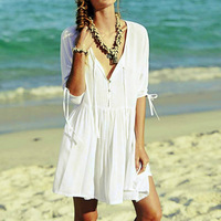 New Beach Cotton Kaftan Cover Up Summer Sarong Dress Beach Cover Up Beach Woman Saida De
