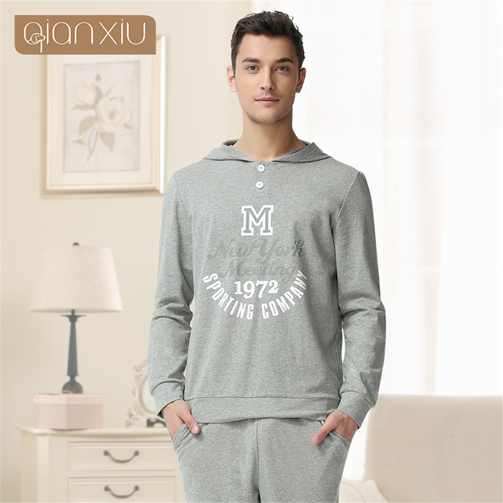 Qianxiu 2019 Men's Pajamas Spring Long Sleeve Home Wear Cotton Cute Couple Pajama Sets Letters Hooded Sleepwear Homewear